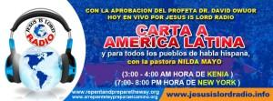 Sintoniza cada martes y jueves 7:00PM-8:00PM HORA DE NUEVA YORK (3:00-4:00 am miercoles y viernes tiempo de Este del Africa)